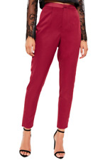 Satin Side Stripe Crepe Trousers Burgundy Size UK 12 DH099 EE 14