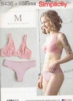 Plunge Bra Panties Lingerie Misses size XS-XL Simplicity 8436 Sewing Pattern