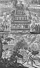 MILITARIA. Fighting burning duels shields swords c1750 old antique print