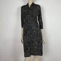 David Lawrence Women's Black Brown Animal Print Stretch Wrap Dress Size S A3