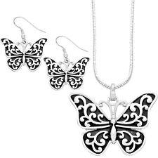 "Butterfly Necklace & Earrings Set - Vine Filigree - Fish Hook - 16"" Chain"