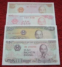 VIETNAM LOT BANKNOTES UNC - 4 PCS ! SET BANKNOTES BILLETS NOTES PIECES 4 PCS