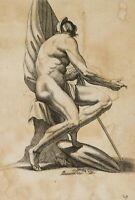 Antikisierende Aktstudie mit Schild, Speer und Draperie, circa 1800, Kupferstich