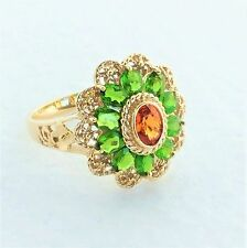 Womens 14k Solid Gold Ring Citrine & Tsavorite Garnet Gemstones Sz 8 3/4