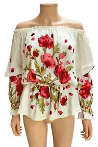 Naeem Khan Ivory Silk Chiffon Red Floral Embroidered Off Shoulder Blouse Size S