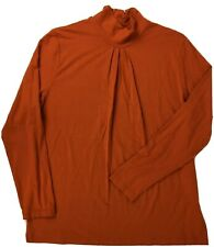 Talbots Woman Sz 1X Turtleneck Long Sleeves Orange Pleats Stretch Career Modest
