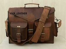 Laptop Phones File Accessories Men Leather Laptop Messenger Briefcase Bag Fits
