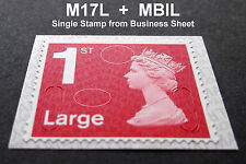 NEW MAY 2017 1st LARGE M17L + MBIL Code Machin SINGLE STAMP from Business Sheet