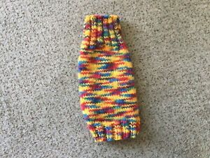 Hand Knitted Dog Jumper. Small Size Dog, Puppy or Cat. Vibrant Multicolour. 13""
