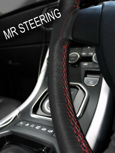 FITS AUSTIN HEALEY SPRITE MK2 61+ LEATHER STEERING WHEEL COVER D RED DOUBLE STCH