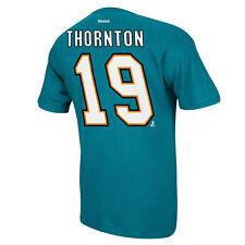San Jose Sharks Joe Thornton Reebok NHL Player T Shirt Men Teal