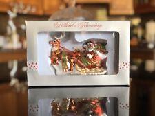 Dillards Tree Trimmings Glass Glitter Santa Reindeer Sleigh Ornament Christmas