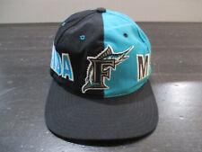 VINTAGE Florida Marlins Hat Cap Black Teal MLB Baseball Snap Back Adjustable 90s