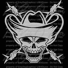 Cowboy Skull with Barbed Wire and Cowboy Hat Vinyl Decal Sticker Rancher Vehicle