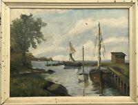Kleiner Hafen mit Segelbooten Bodden Haff Ostsee? Monogrammiert 59,5 x 77,5 cm