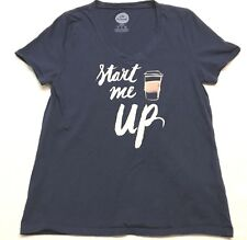 Life Is Good Small Shirt Sleep Coffee Mug Start Me Up Short Sleeve Top V Neck