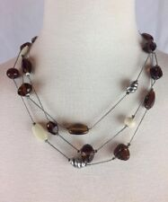 "18-22"" Long CHICOS Brown & Cream Glass Beaded 3-Strand Necklace EUC Signed"