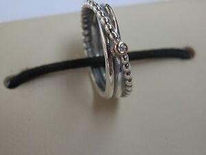 BN RETIRED GENUINE AUTHENTIC PANDORA 14K & SILVER DIAMOND TWIST RING-190243D-50