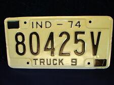 """VTG 1974 Indiana TRUCK 9 License Plate ID Tag """"80425V"""" Vintage COOL! NOS!!"""