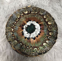 Vintage Women's Multicolor Peacock Feathers Pillbox Hat