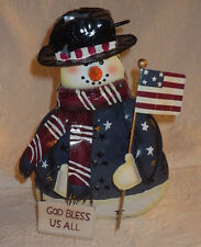 """Snowman Metal Candle Holder God Bless Us All 10"""" Tall"""
