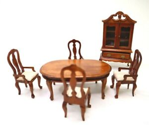 Vintage doll house furniture wood dinning room set Table Chairs & Cabinet
