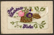 Embroidered Silk Postcard. Best Christmas Wishes from France with Mistletoe