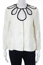 Etro White Black Linen Long Sleeve Cut Out Detail Blouse Size Italian 42