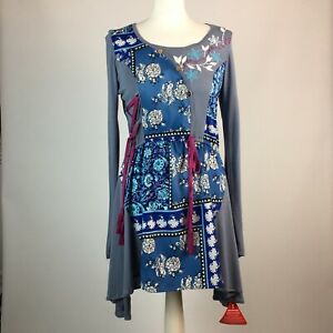 Joe Browns UK 10 Blue Pink Grey Tunic Floral L/S Lacing Detail Embroidery Detail