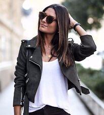 NWOT ZARA Suede Moto Leather Effect Motorcycle Biker Jacket Belt Gray Cropped S