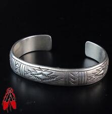 Simple vintage Navajo stampwork sterling silver hollow cuff bracelet old pawn