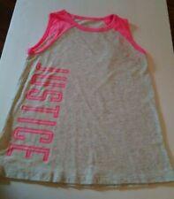 EUC Justice Girls Size 8 Active Logo ShirtTank Top pink & Gray T-shirt