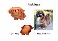 Llavero Piel Auténtica Razas Perros Pekinés Colgante Cuero 3D Hombre Mujer