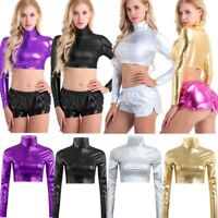 Womens Metallic Crop Tops Wetlook Patent Leather T-Shirts Long Sleeve Clubwear