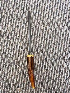 """Vintage Knife Sharpener 11"""" Sharpening Steel Bone Antler Handle"""