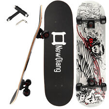 """31""""X8"""" Complete Skateboard 8Layer Maple Wood Skateboard Deck Double Kick Concave"""