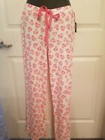 Super soft Cynthia Rowley white Pajama Lounge pants Hearts / Love print hearts