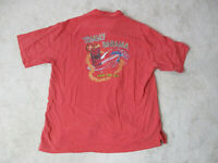 Tommy Bahama Hawaiian Shirt Adult Large Red Ride The Tip Embroidery Surf Mens
