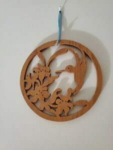 Hummingbird Sun Catcher - Rare - Carved wood 5 Inches round  delicate design