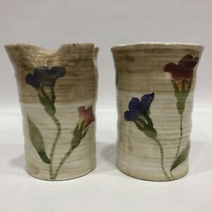 """Bath Set Hand Painted Floral Toothbrush & Cup Holder 4"""" Tall, 2.5"""" Across"""