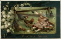 Easter - Little Girl w/ Wagon of Eggs - Chickens c1910 Postcard jrf