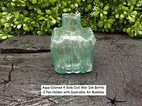 Rare Vintage Antique Civil War Relic Aqua Colored 4 Side Civil War Ink Bottle