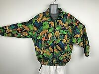Lion King BIG CAT JUNGLE JACKET MENS SIZE LARGE FULL ZIP RARE TRACK SWAG CHILL