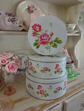 Set Of 3 White Tin Metal Shabby Cabbage Rose Cake Biscuits Tins Canisters