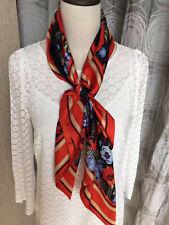 NEW!!Laura Ashley Floral Poppy Silk Square Scarf - PRETTY!! slight second