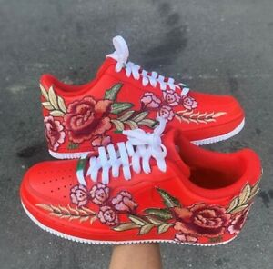 🌹 Nike Air Force 1 07 Low White Red Rose Flower Floral Custom Shoes All Sizes