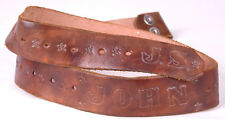 "Vtg Leather Belt-""John J.S.""-Hand Tooled-Western-Brown-Stam ped-Floral-Distressed"
