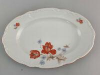 C109 Porcelain Oval Kuchen-Platte Bowl Bareuther Floral Decoration