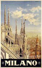 Vintage Milano Milan Italia Viaje A4 cartel impresión