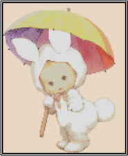 Baby Dresses as Bunny with Umbrella Counted Cross Stitch Chart #42-108